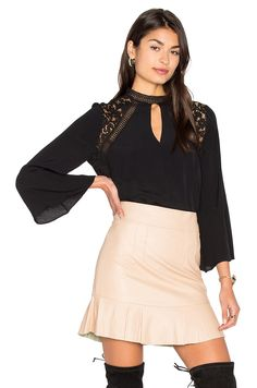 Revolve Clothing PHOEBE BLOUSE BARDOT $79 Front keyhole detail Keyhole back with button closure Contrasting lace panels Revolve Style No. BARD-WS86 Manufacturer Style No. 35944TB