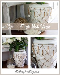 Did you know it was this easy to make a fish net for a vase or bottle? Well turns out it is, so I made a bit of nautical fish net decor by taking an old vase to the beach. www.songbirdblog.com