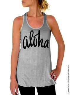 "Use coupon code ""pinterest"" Aloha - Gray Flowy Tank Top by DentzDenim"