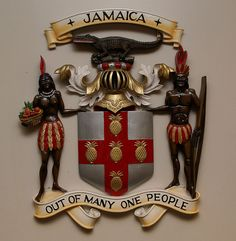 The Jamaican Coat of Arms was granted to Jamaica on February 1661 under Royal Warrant. Jamaica was the first British colony to receive its own arms. Native Jamaicans were made lighter over time. Montego Bay, Negril, Jamaica Facts, Jamaica Jamaica, Jamaica Vacation, Jamaica Travel, Jamaican People, Jamaican Art, Jamaican Quotes