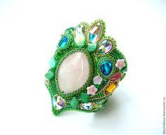 Купить Летний браслет с кварцем - зеленый, лето, кварц, браслет с кварцем, красивый браслет