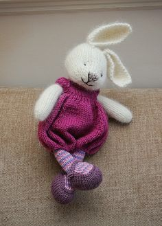 Hand knitted beautiful bunny rabbit with dress and shoes by Liz