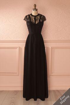 Virgénie ♥ JUST IN from Boutique 1861....Ce soir, personne ne pouvait le nier, elle était remarquablement belle!/ long black lacy dress/short sleeves/black bridesmaid dresses/ prom /1861.com