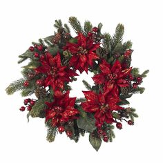 24in Poinsettia & Berry Wreath