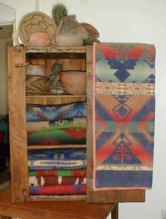 Some of my Beacon blankets and Indian artifacts.