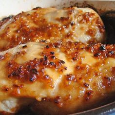 Cheesy Garlic Baked Chicken. This is the best chicken I've ever made. Ever. The only thing I did differently was only used 1/4 cup of cheese (parm cheese). This was amazing. Seriously. So good.