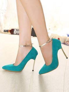 Blue Strap Heeled Shoes   Choies
