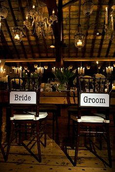 Signs on back of chairs for Bride & Groom, would also have sign for parents, bridesmaids etc