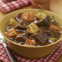 Spiced Beef and Apple Stew: Slow cooking ensures that the meat, apples and sweet potatoes become tender.