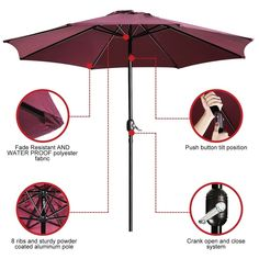 9 Ft Umbrella Durable Alloy and Ribs Outdoor Waterproof Patio Table Umbrella,Red #UHINOOS