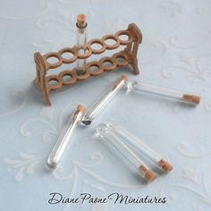 . Test Tube Set with Cork Stoppers #2 - Dollhouse Miniature