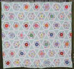 "Sweet Cottage Style! Vintage 30s Flower Garden Star QUILT 73"" x 80"" Vintageblessings"