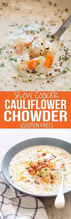 Creamy Cauliflower Chowder is a healthy, easy, comfort food recipe and ready in under 30 minutes. Gluten free, low carb and keto friendly. Can be made in a slow cooker.