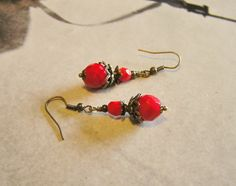 Victorian Style Red Dangle Earrings with Czech by SmockandStone, $17.00