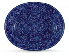 Blue Platter, faience, 1887  Nevers. France.