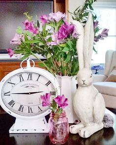 perfect for spring!  bunny, clock and flowers