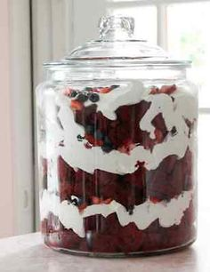 Red Velvet and Berry Trifle. Great dessert for a party. Feeds a crowd! Memorial Day Party Tips
