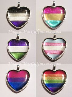 LGBTQA Orientation and Identity Pride Foil Heart Necklaces
