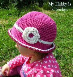 Crochet Cotton Summer Hat for baby toddler - Free pattern with photo  tutorial by MyHobbyIsCrochet - i just wanted more insight on how to make a  rolled brim. 9e3972ef6d31