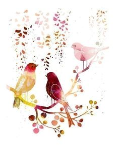 Softly hued, sweet, tranquil watercolor birds