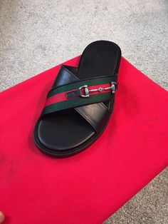 Mens Brown Leather Shoes, Leather Slippers For Men, Mens Slippers, Leather Sandals, Gucci Fashion, Mens Fashion Shoes, Fashion Shops, Mens Shoes Boots, Shoe Boots