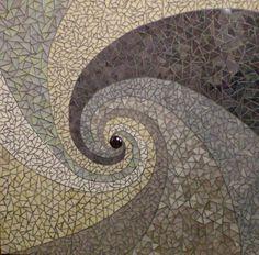 glasmozaiek op houten paneel  afgevoegd met zilvervoeg    60 x 60 cm
