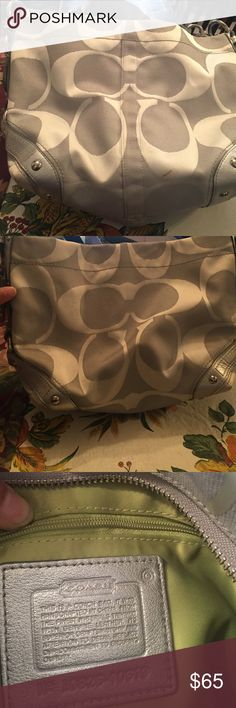 Silver coach bag Has a couple brown markings on them barely noticeable you can see them in the first two pics perfect on the inside Coach Bags Baby Bags