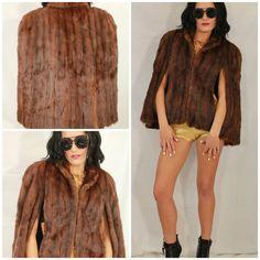 VTG 60s Real FUR Wild Mink PLUSH Hippie Boho Dress Cape Stole Jacket Coat OS #TheHigbeeCompany #StoleCape