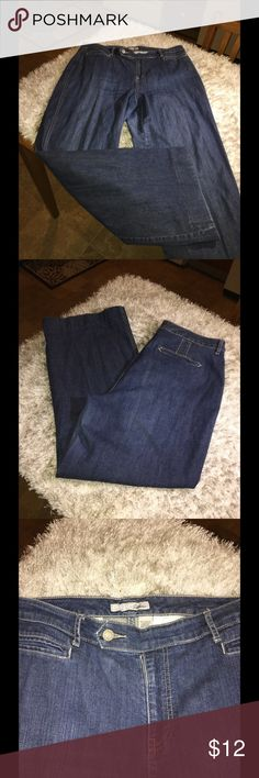 Chico's Platinum Trouser Style Jeans Size 14 Trouser style jeans.  Medium blue rinse color.  Chico's Platinum.  Size 2.5 which converts to a 14.  Inseam is 28.5 inches.   Good condition.  Important:   All items are freshly laundered as applicable prior to shipping (new items and shoes excluded).  Not all my items are from pet/smoke free homes.  Price is reduced to reflect this!   Thank you for looking! Chico's Jeans