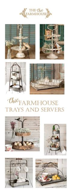 Chic Farmhouse Trays and Servers French Country Farmhouse, Rustic Farmhouse Decor, Farmhouse Chic, Farmhouse Design, Country Decor, Rustic Decor, Country Chic, Decorating Your Home, Diy Home Decor