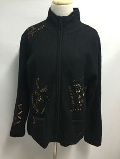 Chico's Womens 100% Wool Jacket Embroidery Embellished Black Size 1  | eBay