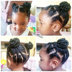 20 Cute Natural Hairstyles for Little Girls - From pony puffs to decked out cornrow designs to braided styles, natural hairstyles for little girls can be the cutest added bonus to their precious little faces. Lil Girl Hairstyles, Natural Hairstyles For Kids, Kids Braided Hairstyles, Princess Hairstyles, Toddler Hairstyles, Hairstyles 2016, Black Hairstyles, Short Haircuts, Simple Hairstyles