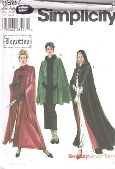 Hey, I found this really awesome Etsy listing at https://www.etsy.com/uk/listing/111354264/simplicity-8987-misses-begotten-cape