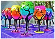 Painted wine glasses who wants to join me? I love this!
