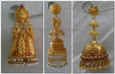 Antique gold jumka buttalu temple jewelelry designs of indian earrings