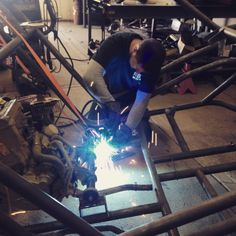 Mr Razr Sharp Customs getting his weld on the RSC Chassis