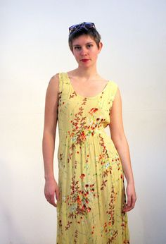 Anemone 90s Sleeveless Yellow Sundress Rayon Sundress