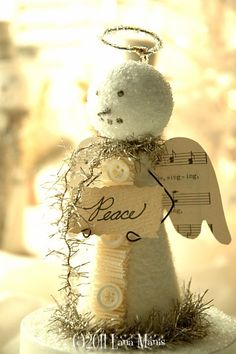 ♥ Snowman, snow angel, etsy, white, ivory, whimsical, tarnished silver tinsel