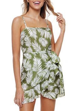 7dae1b47610d Chic Cute Ruffle Wrap Hemline Green Leavy Sundress MB220315-9 – ChicLike.com