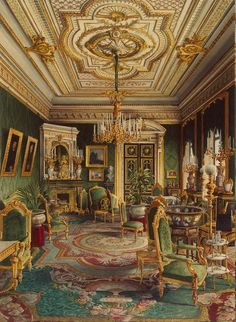 """Jules Mayblum (19th century) - """"Palace of Count Pavel S. Stroganov, Lounge"""", 1865 - Watercolor - Hermitage Museum"""