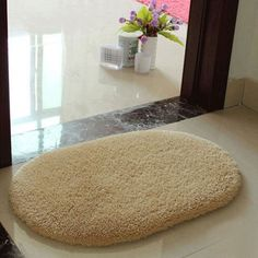Bathroom Carpet Soft Memory Foam Oval Non-slip Bath Mats