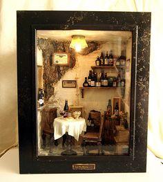 Vintage Country small Wine Shop -Ooak wine bar by Hea Kyung, via Behance Vitrine Miniature, Miniature Rooms, Miniature Houses, Miniature Furniture, Shadow Box Kunst, Shadow Box Art, Christmas Shadow Boxes, Mini Things, Vintage Country
