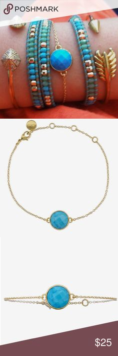 Maya Bracelet by Stella and Dot Beautiful and delicate bracelet by Stella and Dot. Turquoise is a classic style staple and works from classy to boho and everything in between. *please note this listing is for the Maya bracelet only, pictured in photos 2 and 3 Stella & Dot Jewelry Bracelets