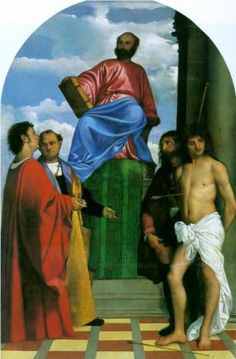 Saint Mark Enthroned - Titian.  1510.  Oil on canvas.  149 x 230 cm.  Santa Maria della Salute, Venice, Italy.