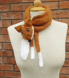 Fox Collar  Fox Stole Fox Neckwarmer Handknitted Fox by evefashion