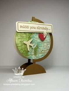 : World Map Miss You Globe Card. Love this, so clever.: World Map Miss You Globe Card. Love this, so clever. Cute Cards, Diy Cards, Stamp World, Tarjetas Diy, Miss You Cards, Travel Cards, Shaped Cards, Masculine Cards, Creative Cards