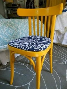 Our cute reupholstered chair for our room! #chair #DIY #reupholster