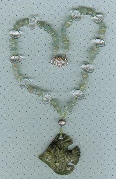 Under the Sea - Carved Chrysotine Fish Pendant, Aquamarine, Rock Quartz, Peridot,  Sterling Silver Necklace