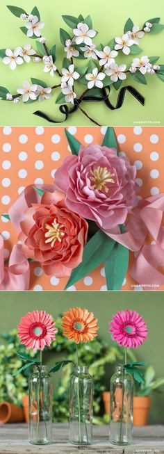 Simple paper flower kits by www.LiaGriffith.com #paperflowers #paperflower #paperflowerkit #paperflowertutorial #DIYPaperFlower #paperDaisy #Papergerbera #paperpeony #Paperappleblossom
