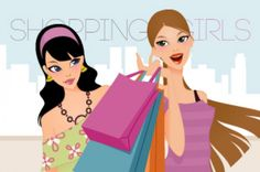 2 great vector fashion shopping woman illustration. Those fashion shopping girls vector are all the trend around now to illustrate any...